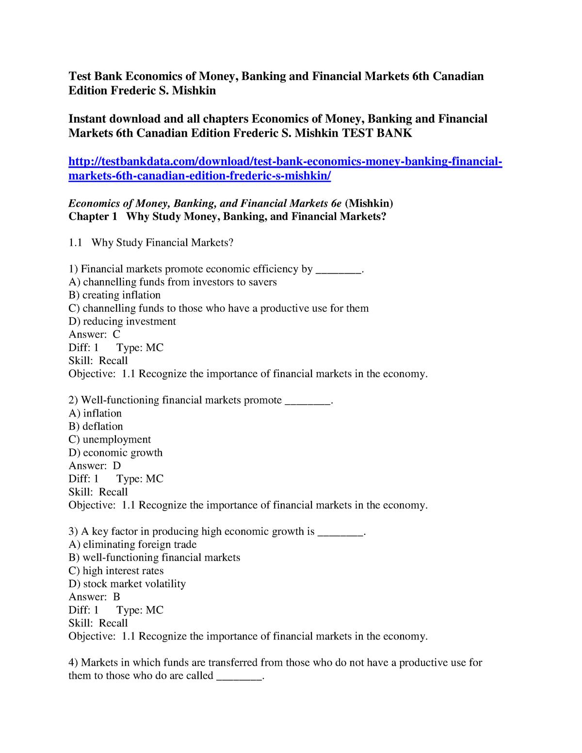 Chapter 1 Test Bank - Cecn 503: Economic Development - StuDocu