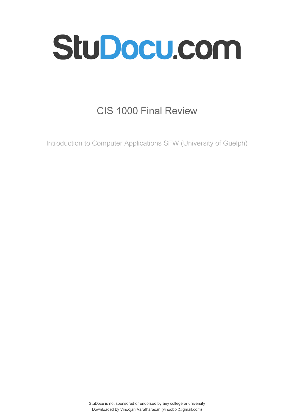 Cis 1000 final review - Cis1000 - StuDocu