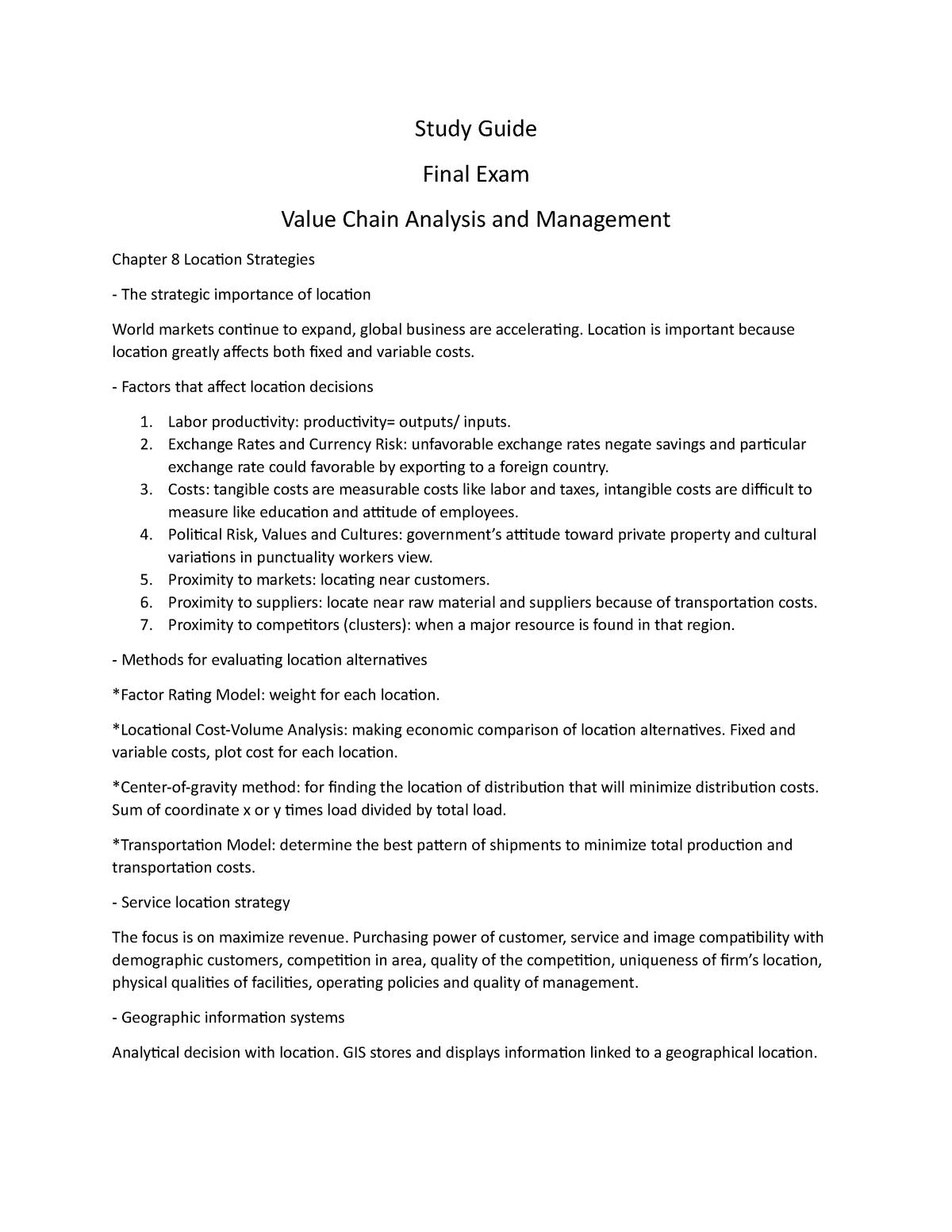 Exam 2016 - NI2018: Análisis y administración de la cadena de valor