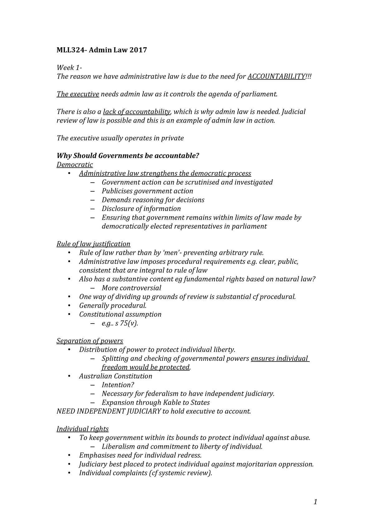 MLL324- Administrative Law - MLL111 Bachelor of Laws - StuDocu