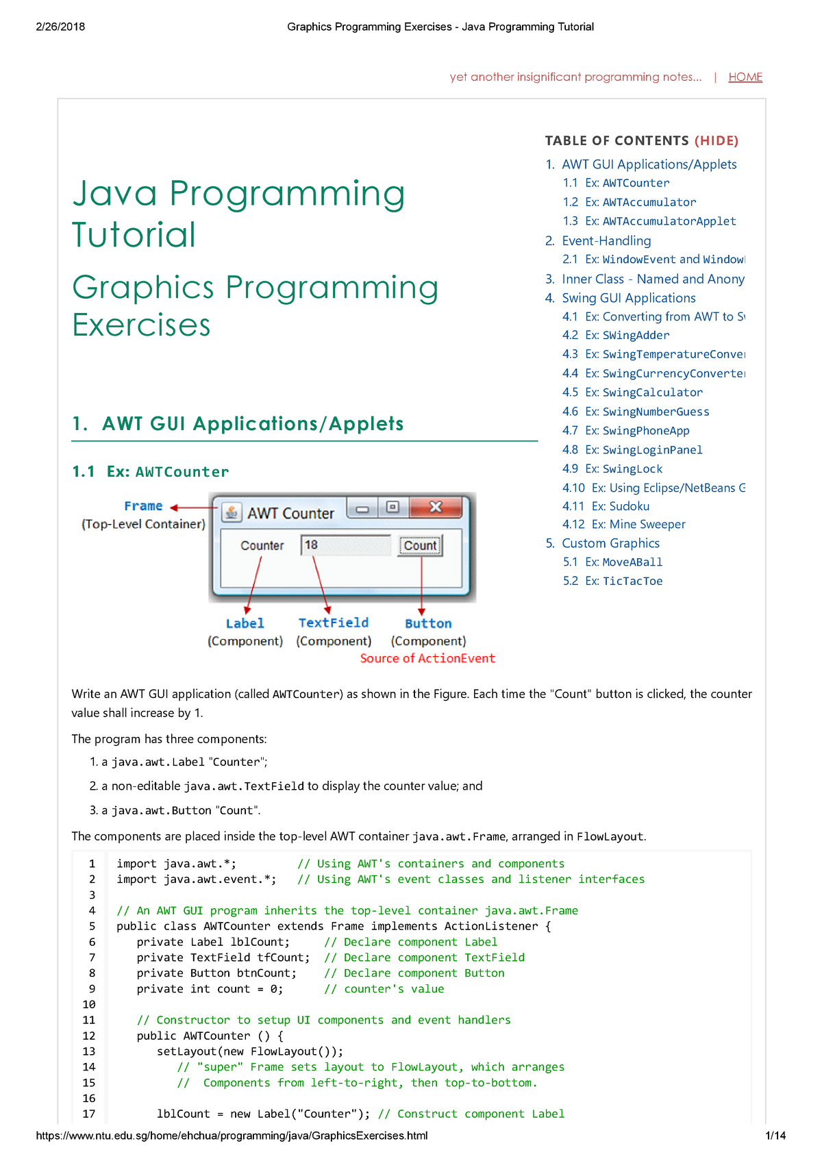 Graphics Programming Exercises - Java Programming Tutorial