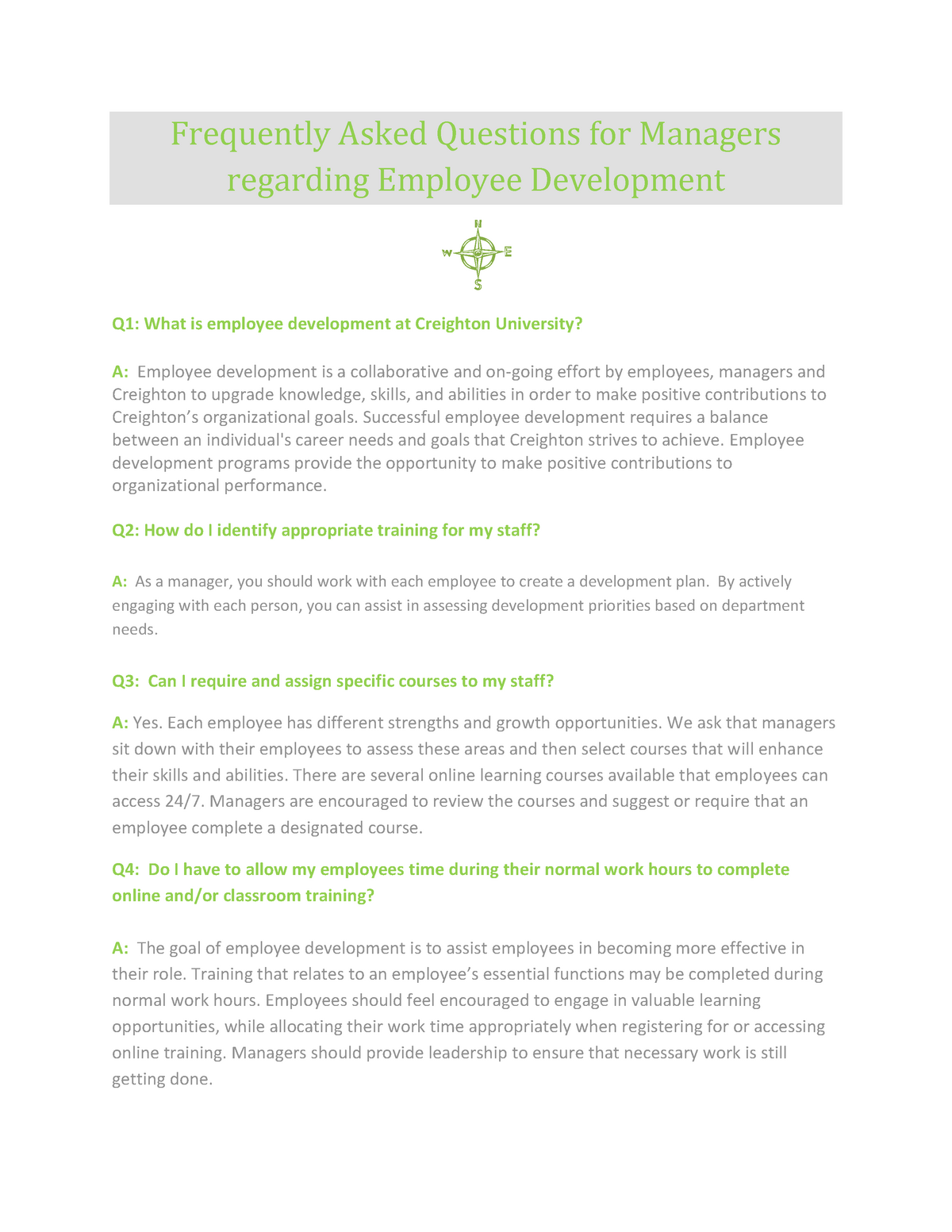 Practical - FAQ for Manager's Employee Development