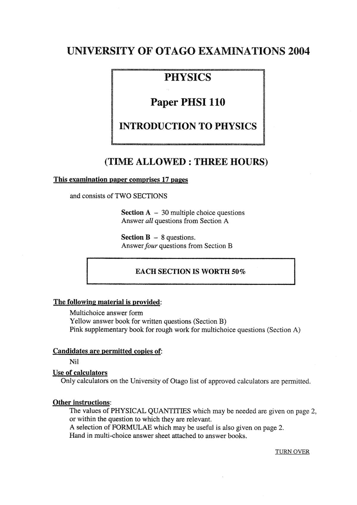 Exam 2004 - PHSI131: Fundamentals of Physics I - StuDocu