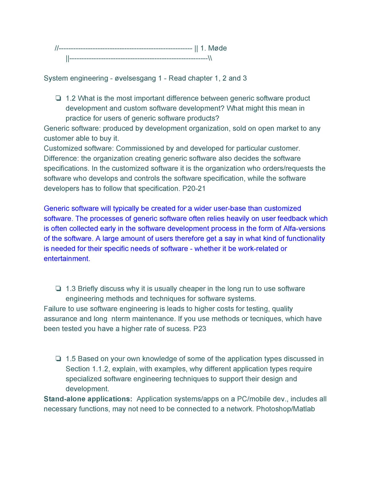 Software Engineering Eksamensforberedelse U26518 Ruc Studocu