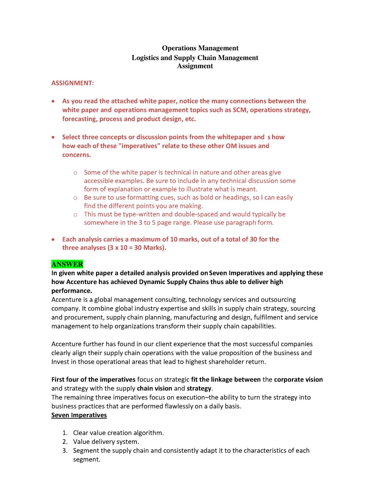 01 LSCM Assignment chandan - Marketing Management - StuDocu
