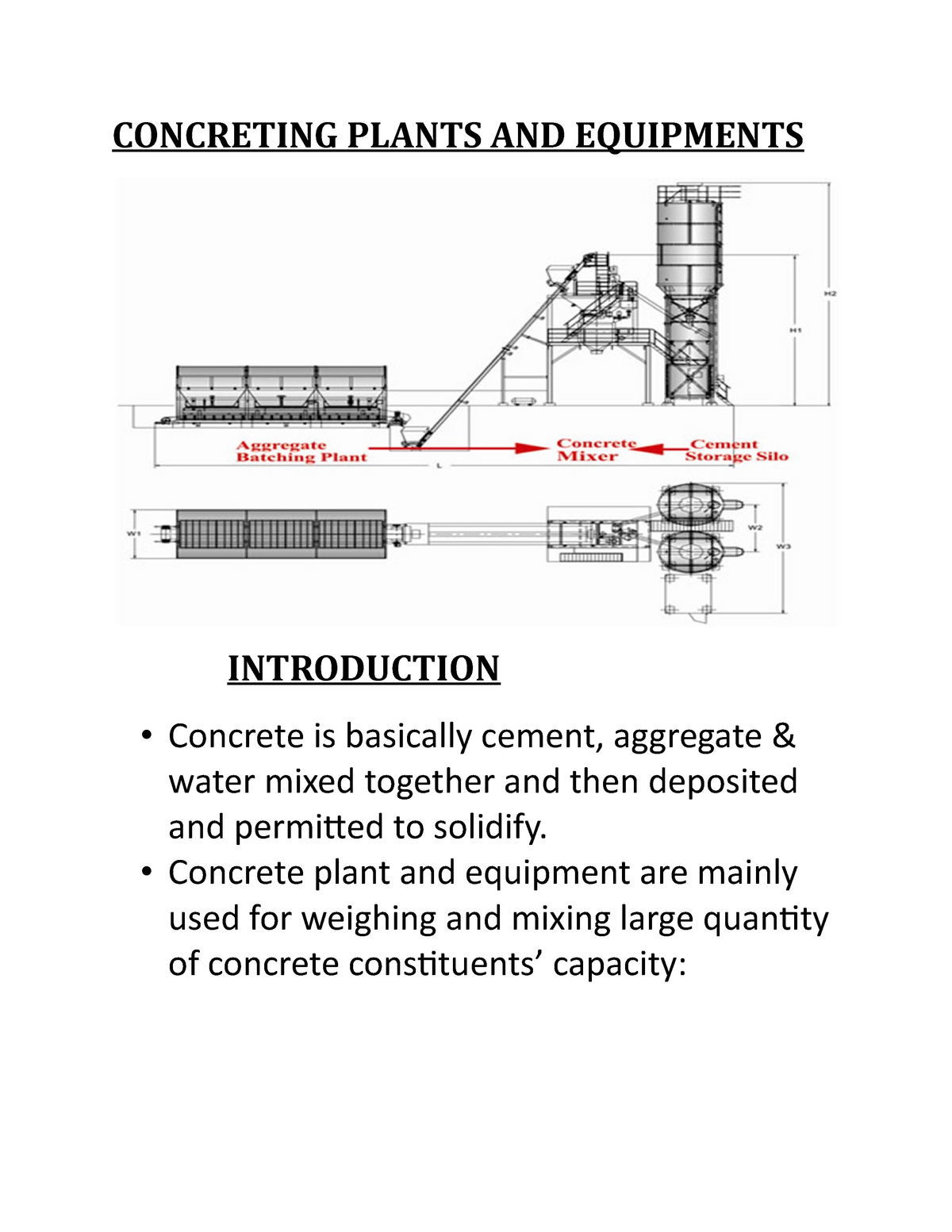 Concreting Plants AND Equipments - Management accounting
