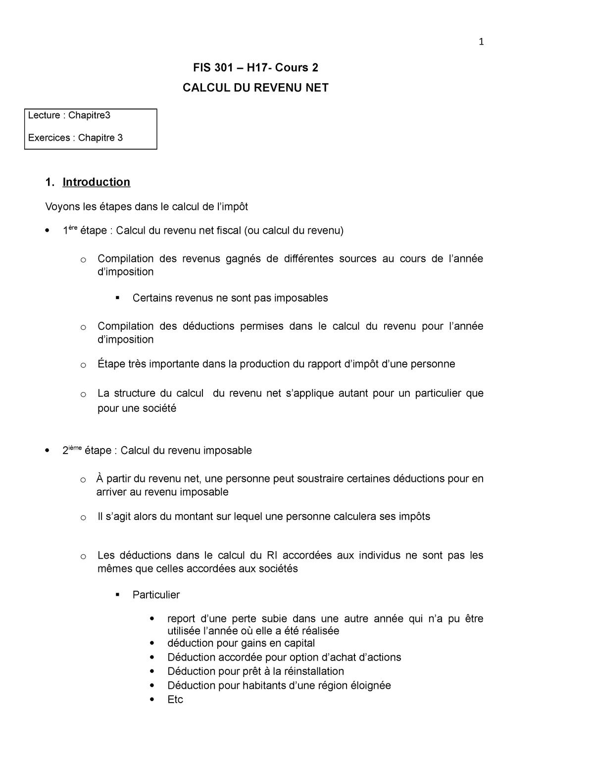 Calcul Des Deductions A La Source Impot Net >> Cours 2 H17 Chapitre 3 Calcul Du Revenu Net Ca Fis301