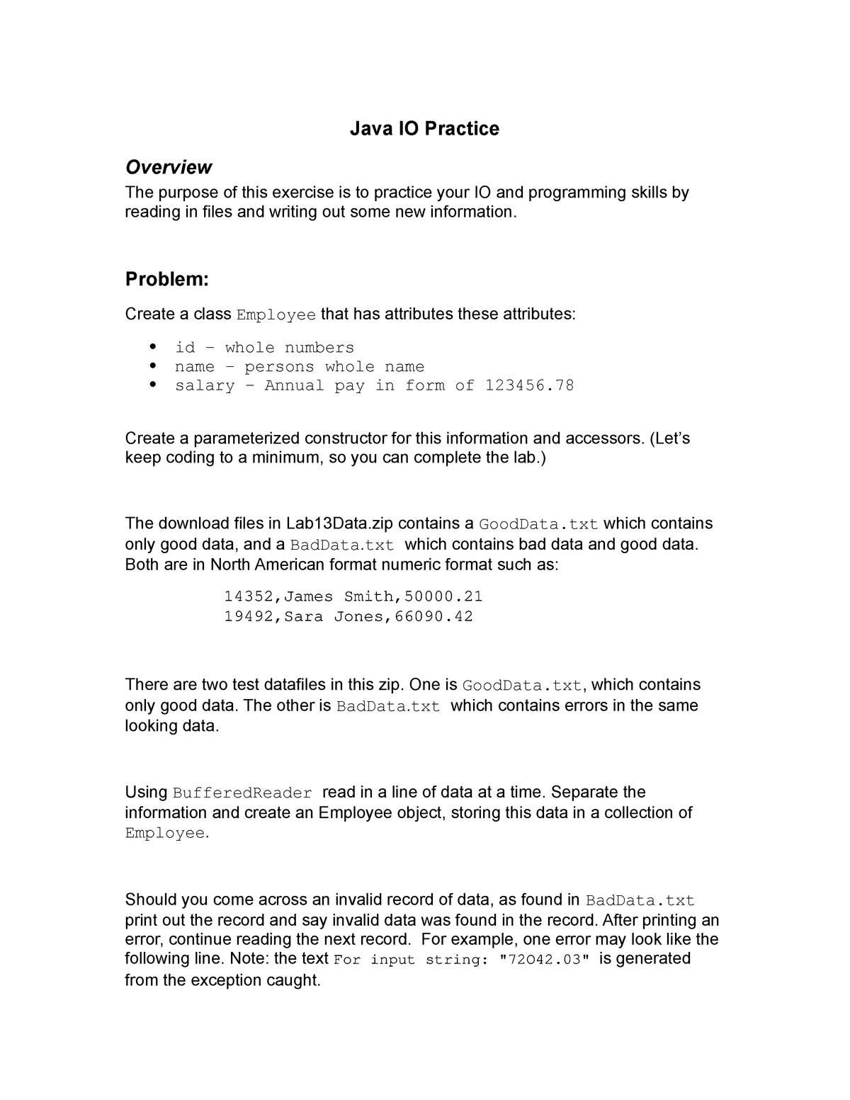 Java IO Practice - 0304 342: Prob Solving With Comp - StuDocu