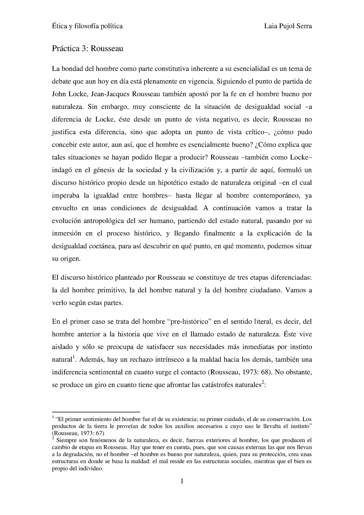 Rousseau Y El Buen Salvaje ètica I Filosofia Política