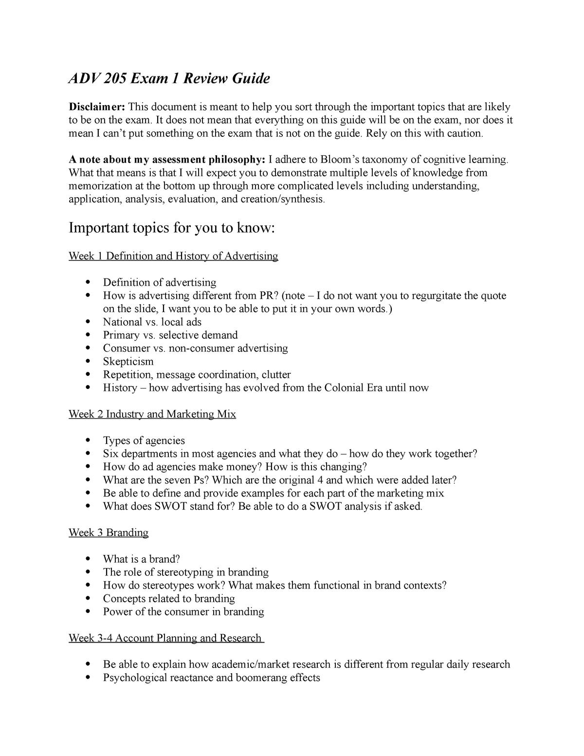 ADV 205 Exam 1 Review Guide - ACC 230 - MSU - StuDocu