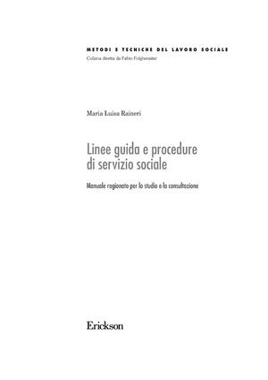 linee guida e procedure di servizio sociale manuale ragionato per lo studio e la consultazione
