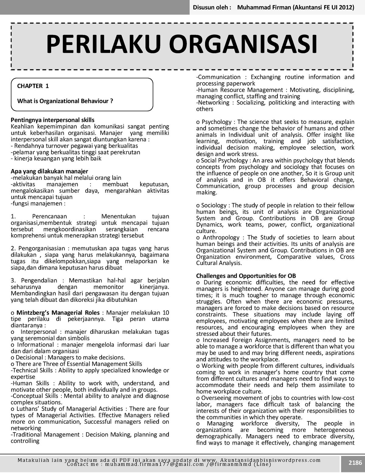 Summary Organizational Behavior Complete Chapters - MN - StuDocu