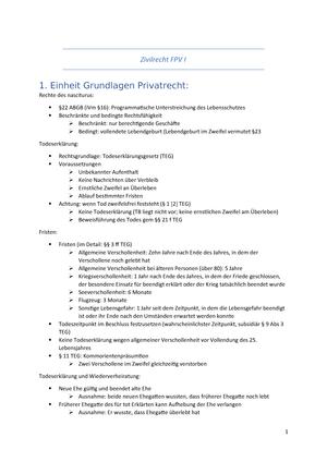Fpv I Vorlesungsnotizen Fpv I Fachprüfung Zivilrecht Studocu