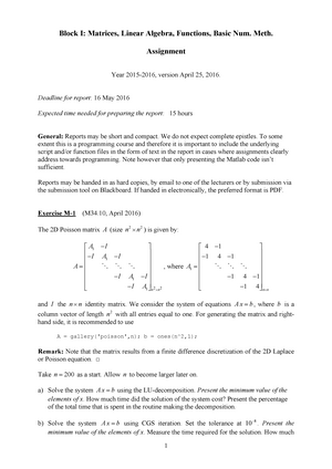 Seminar assignments - Assignment 1, questions - WI4141TU: Matlab for