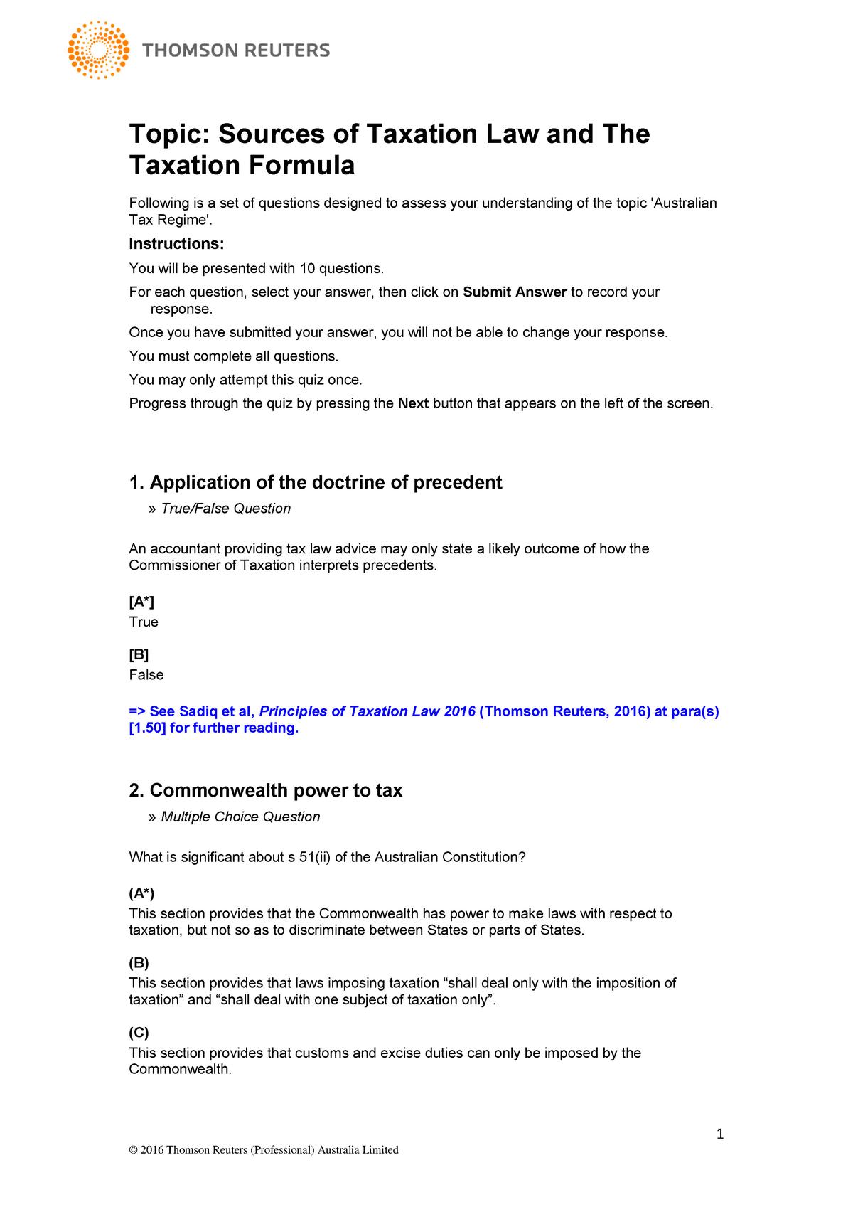 Practical - BLAW30002 Taxation Law I - Unimelb - StuDocu