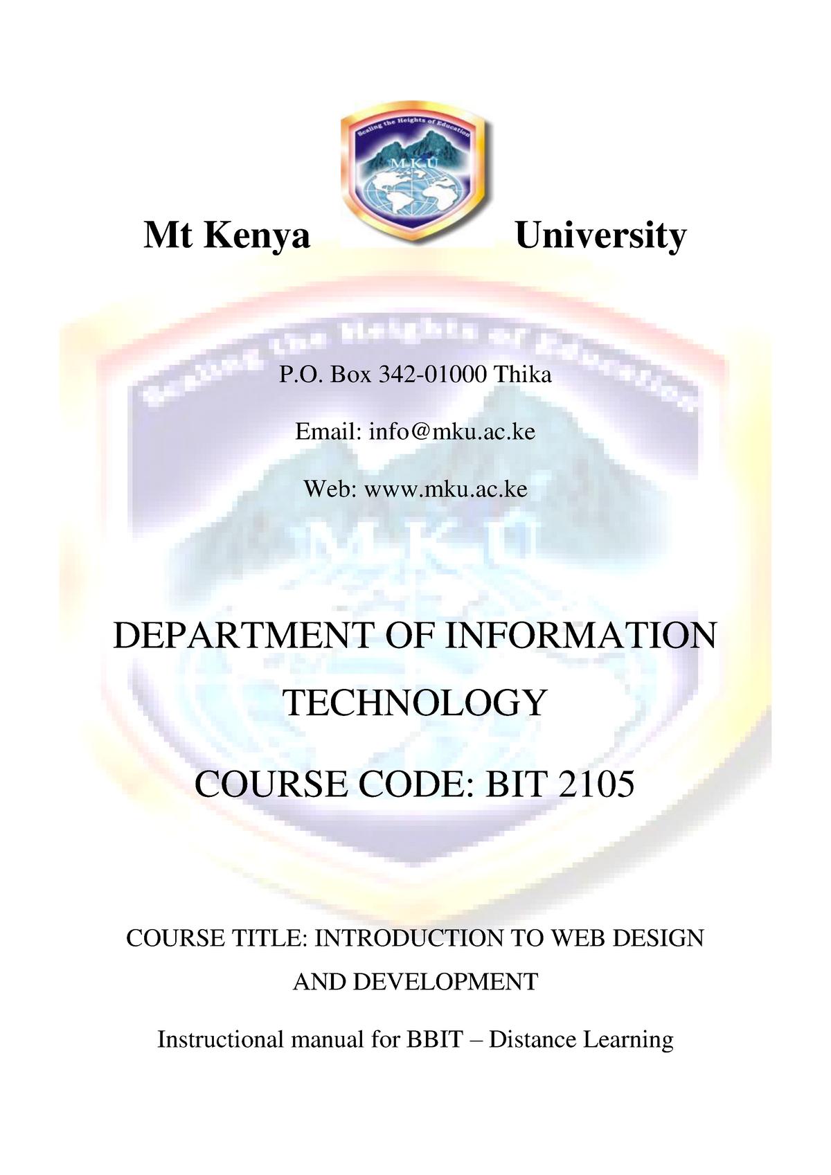Bit 2105 Introduction To Web Design And Development Module Studocu