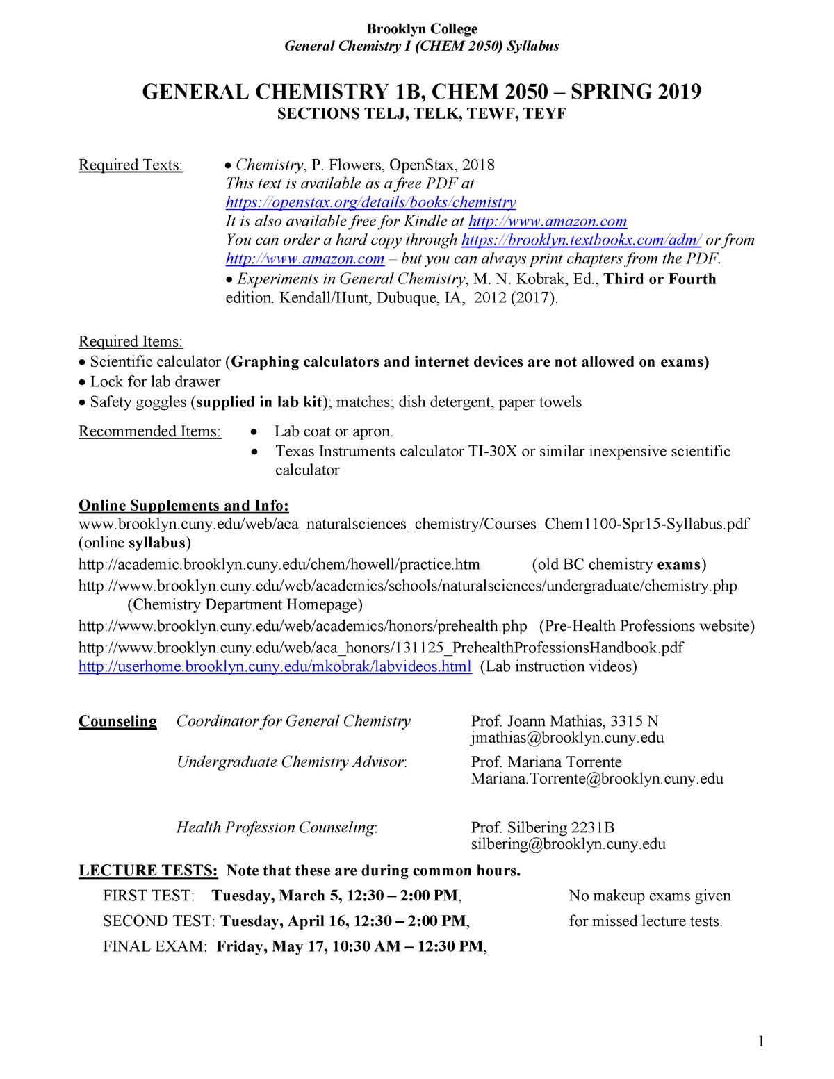 Brooklyn College Attachment 1 - CHEM 1100: General Chemistry