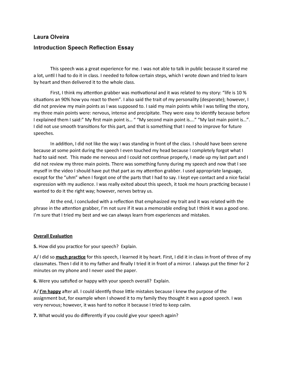 Reflection essay introduction