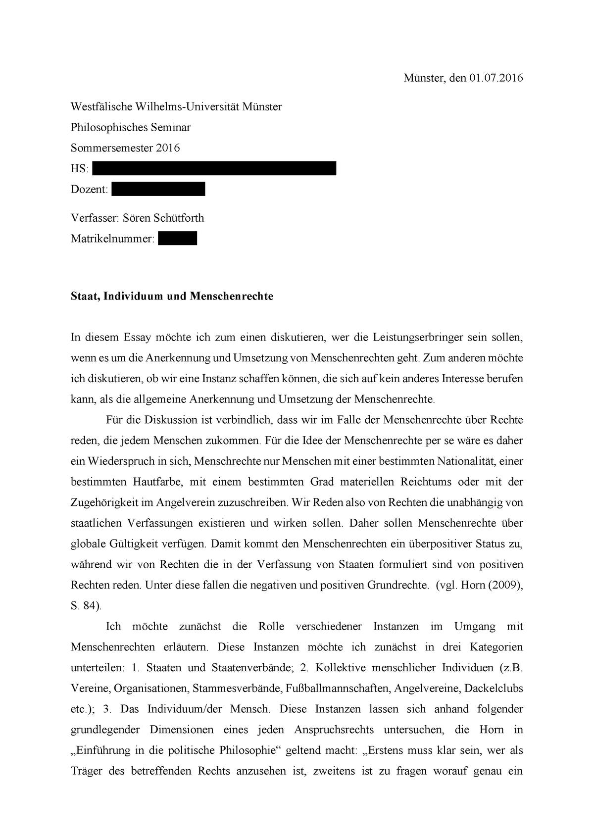 Essay Von Soren Schutforth Philosophie Der Menschenrechte Studocu