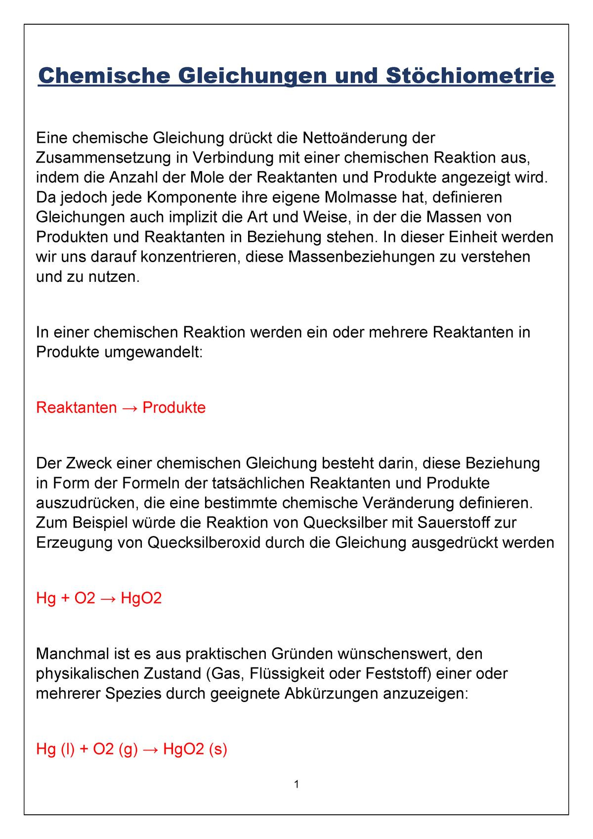 Chemische Gleichungen Und Stöchiometrie 02 03 1 Alc 1 Studocu
