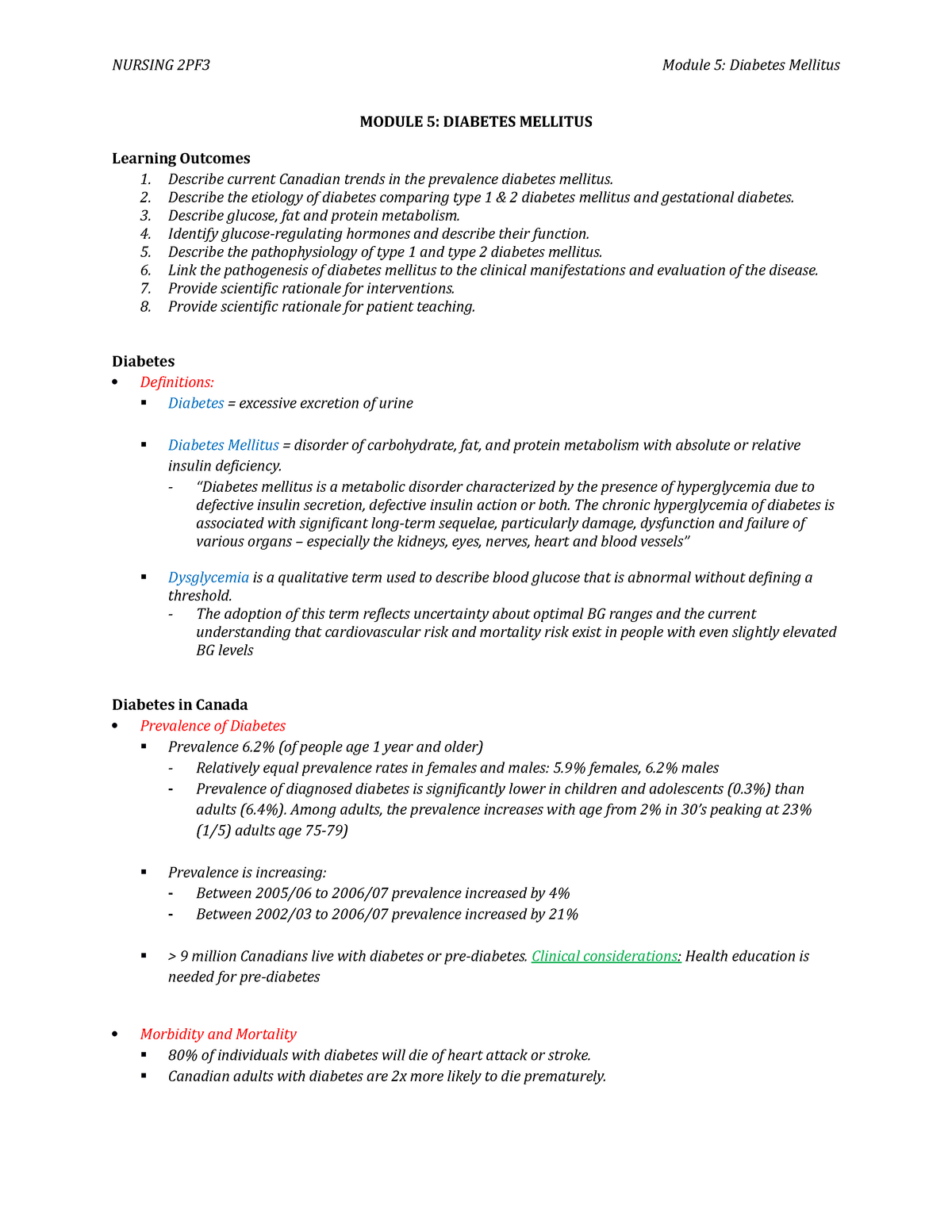 Pathophysiology 05 - Module 5 - Diabetes - Nursing 2Pf3