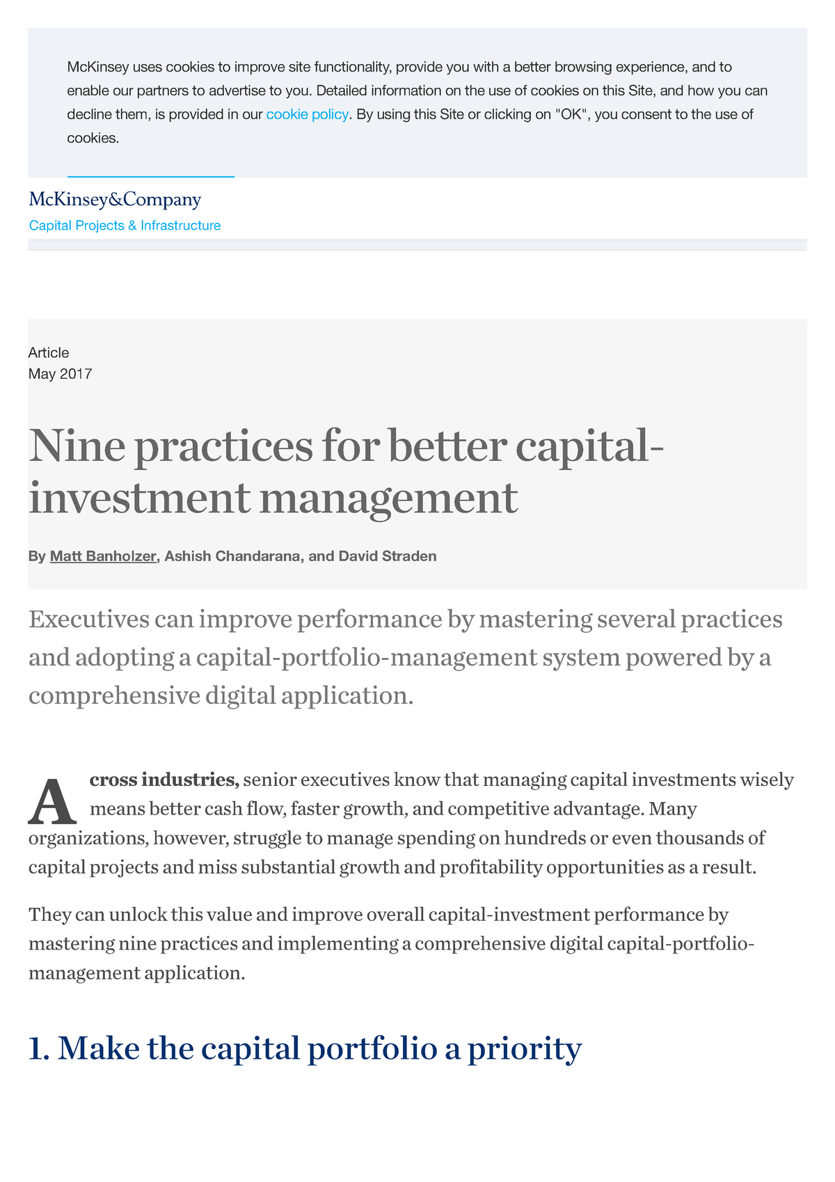 Nine practices for better capital-investment management Mc Kinsey