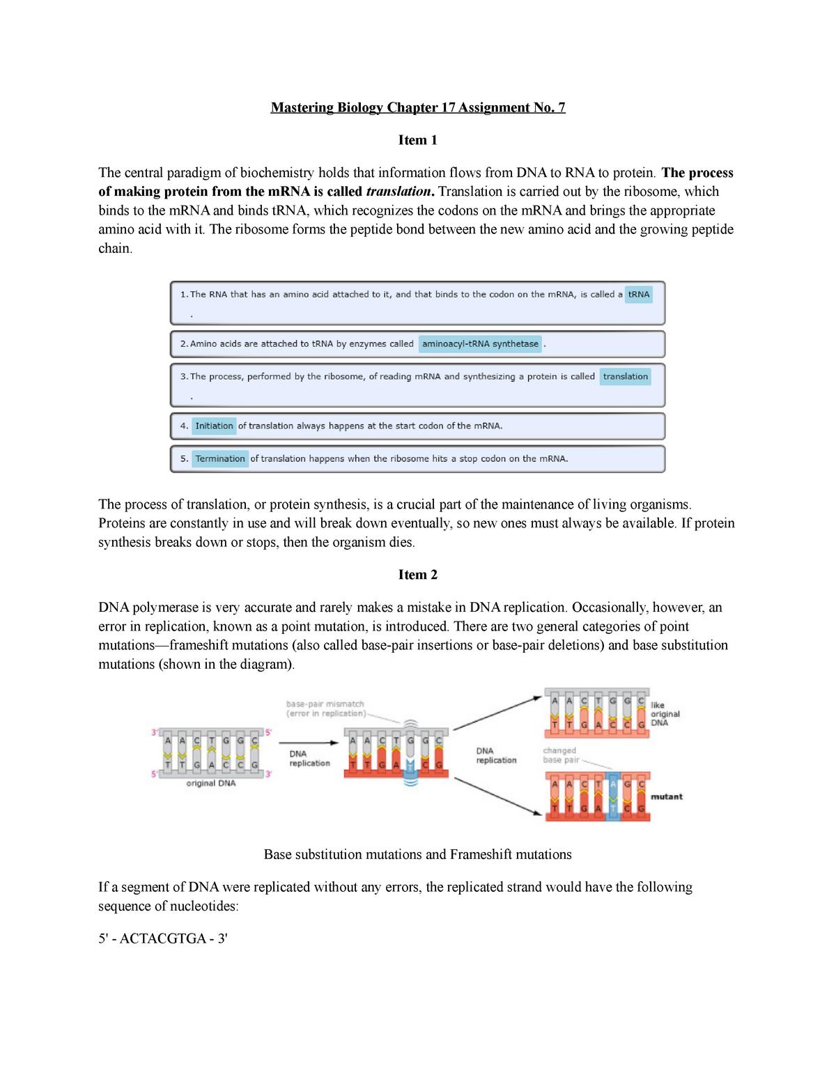 Mastering Biology Chapter 17 - ABIO 121 - UAlbany - StuDocu