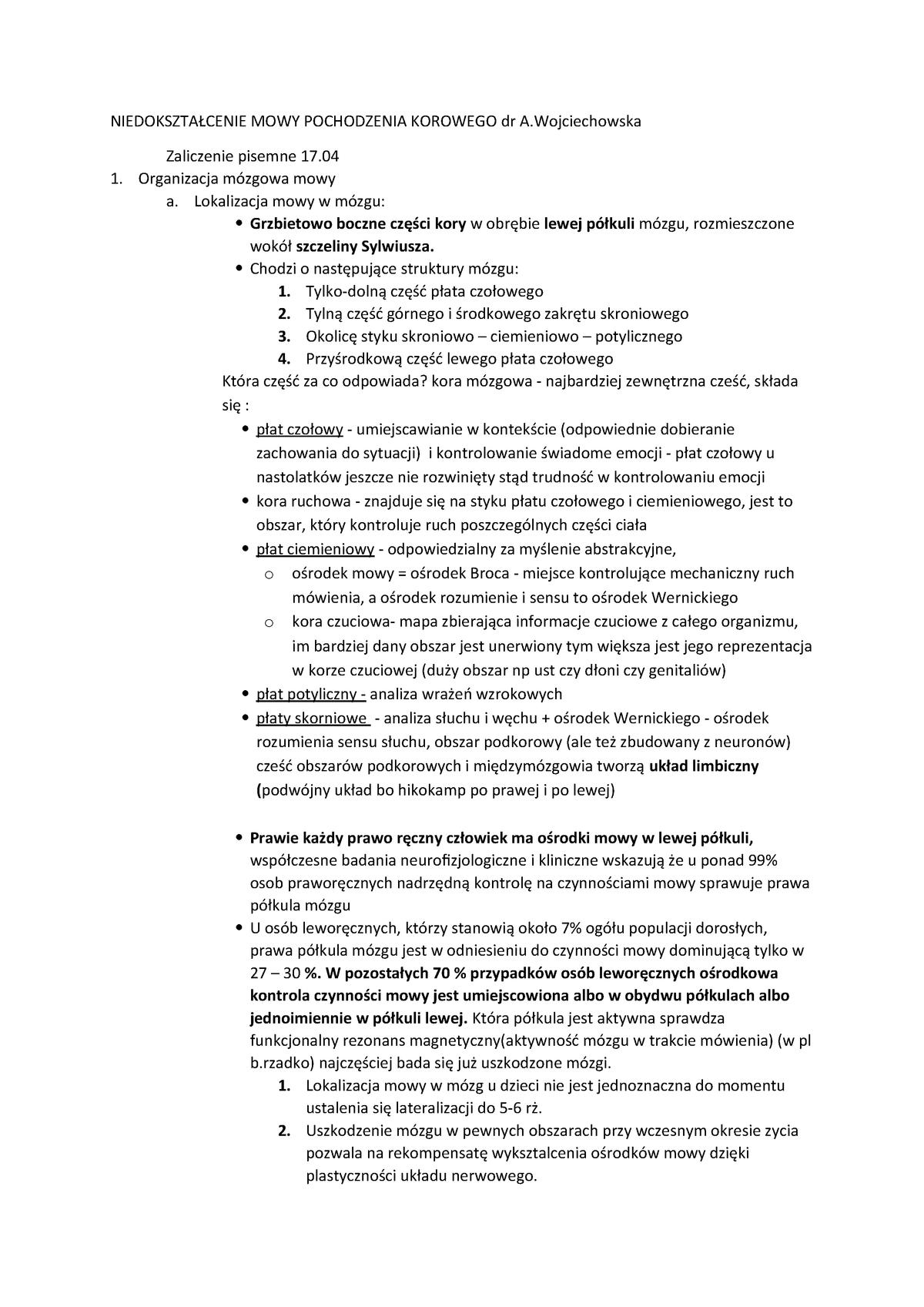 W Niedokształcenie Mowy Pochodzenia Korowego 11 E25 P