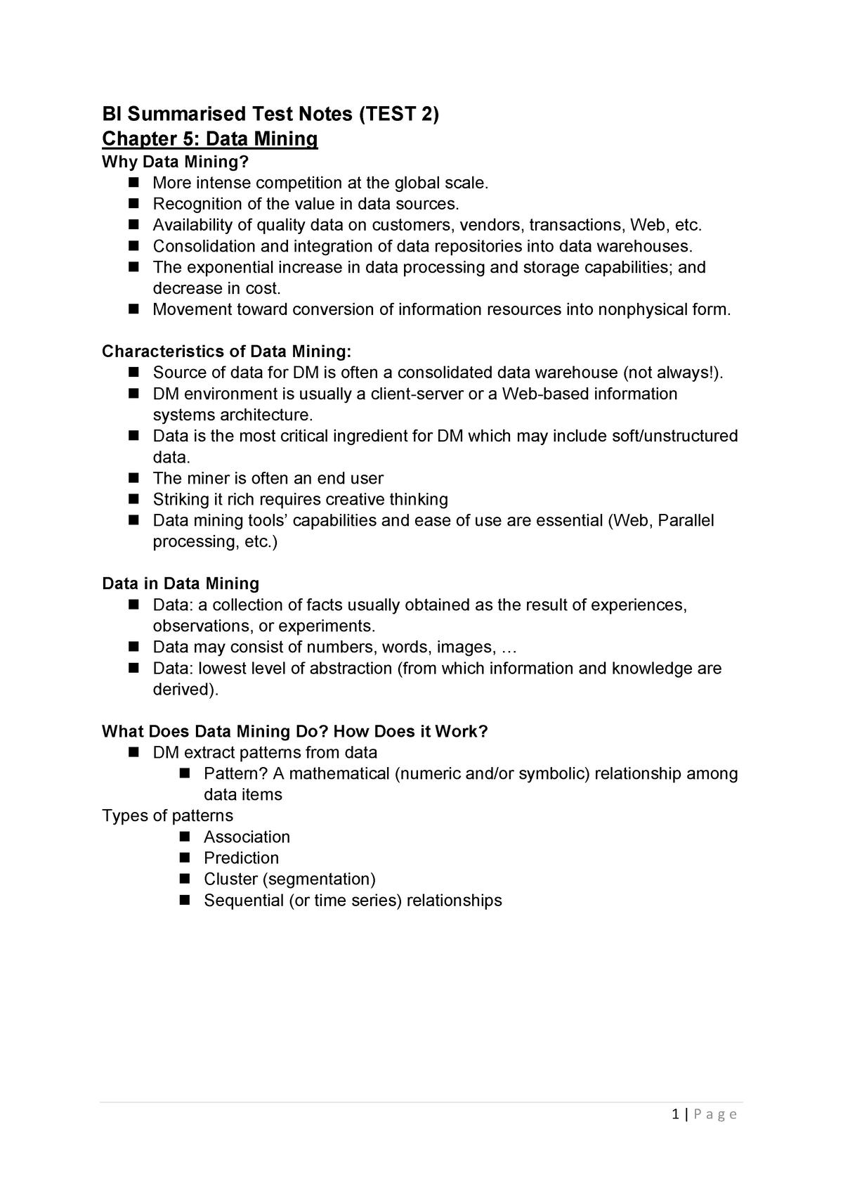 BI Summarised Test Notes - BMI511S - StuDocu