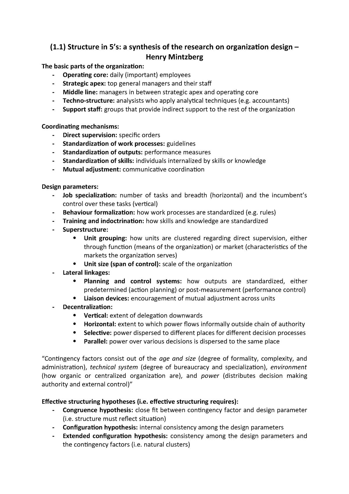 Organization Design Papers Summaries Ebm049a05 Rug Studeersnel