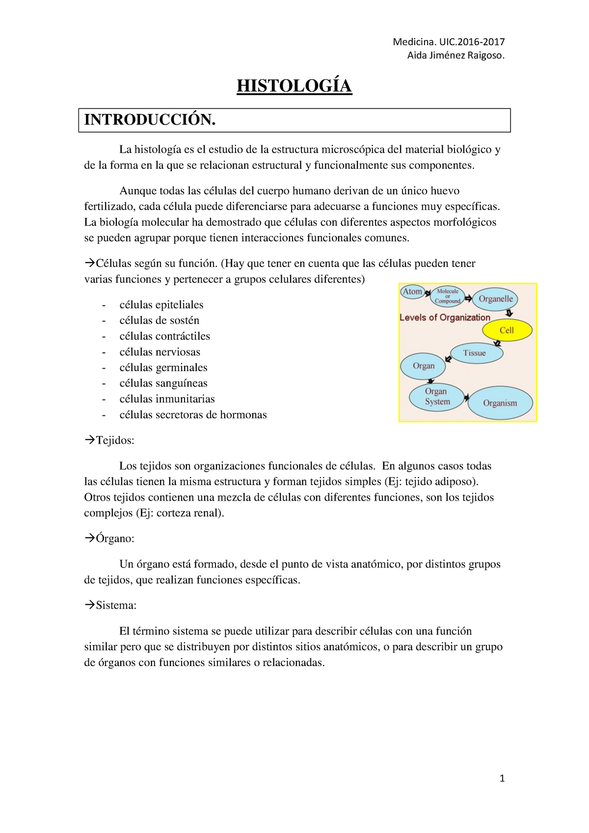 Histología Parte I Uic Barcelona Studocu