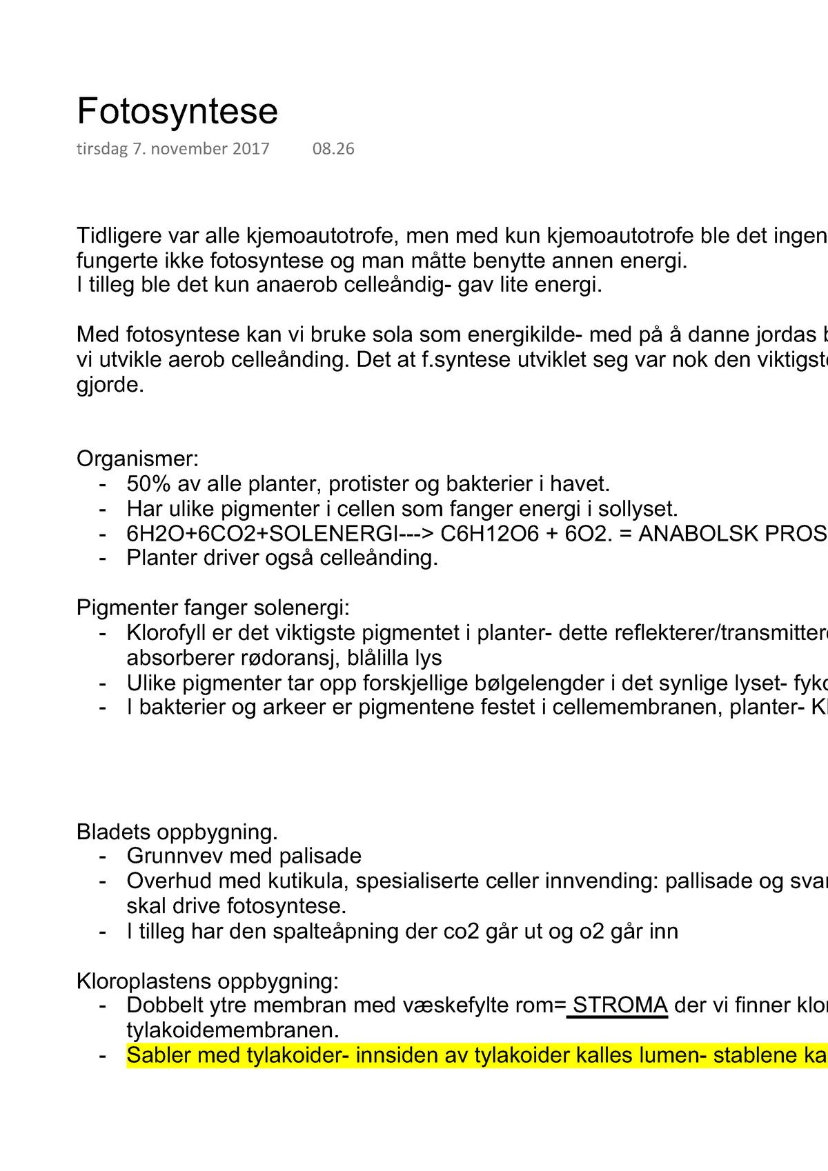 9101a2ed Fotosyntese - Foredragsnotater 6 - BIO1000: Grunnkurs i biologi - StuDocu