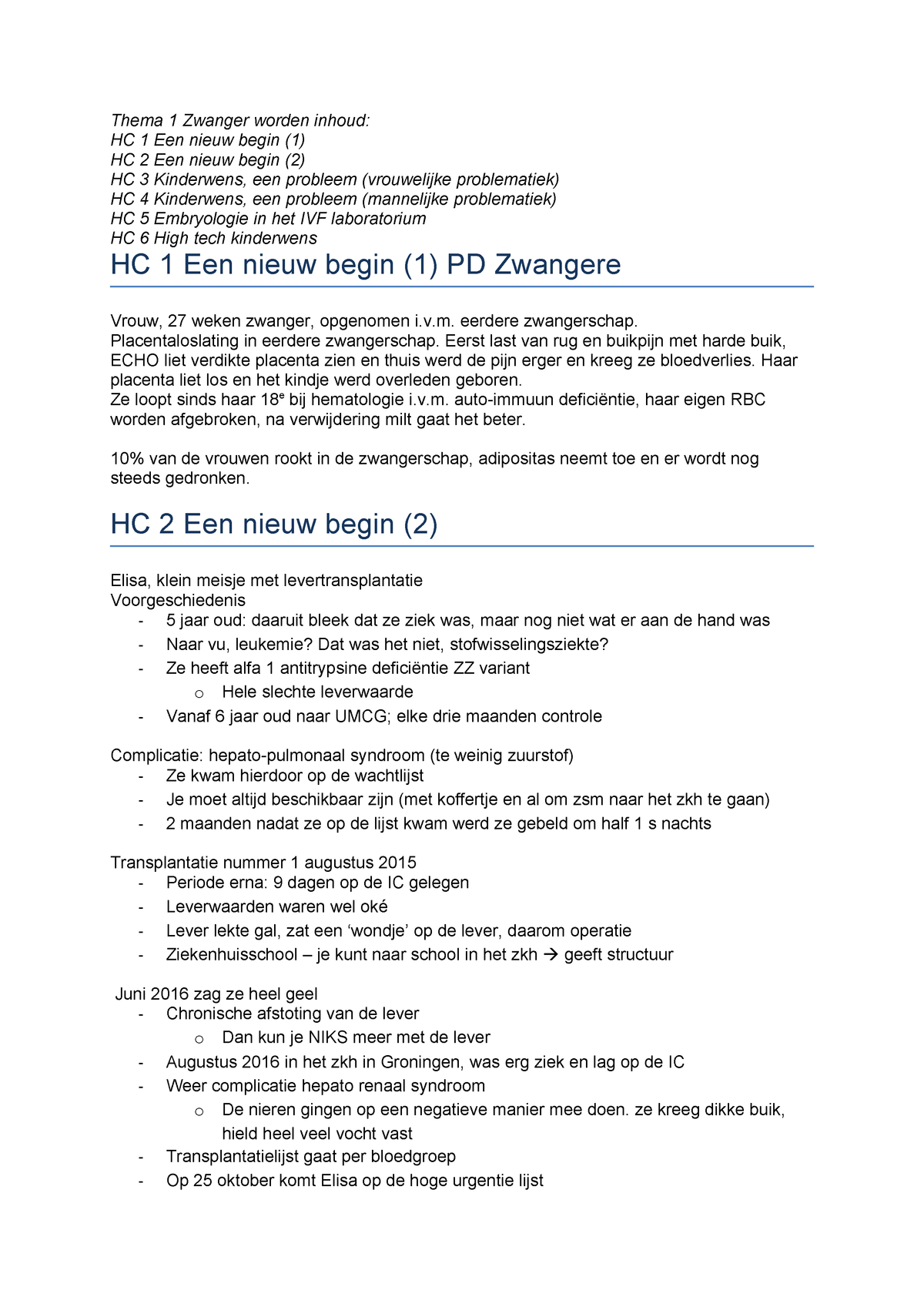 Thema 1 Zwanger worden HCs - 301323000Y - StudeerSnel