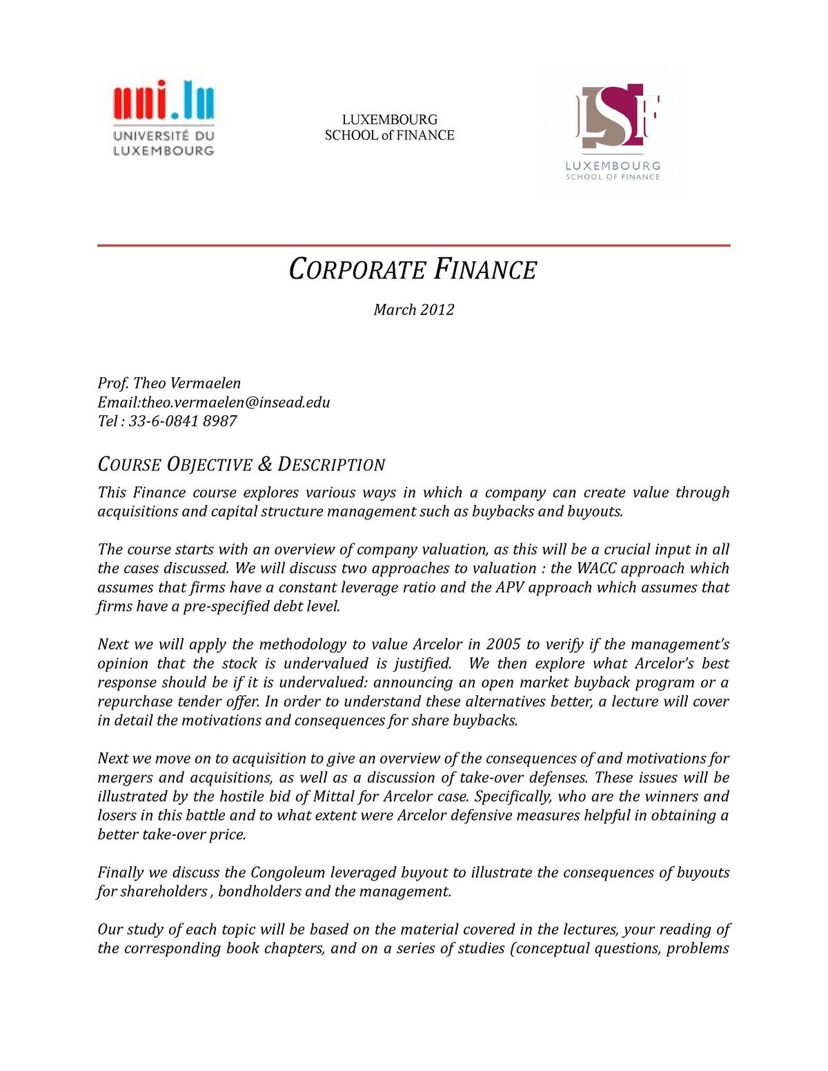 Outline Corporate Finance ii Vermaelen - 001 - StuDocu