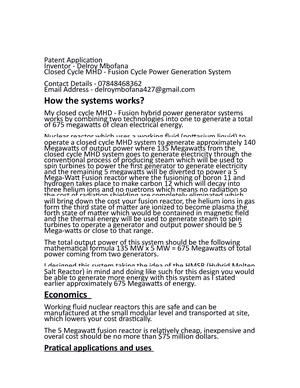 Closed Cycle MHD - Fusion Cycle Power Generation System