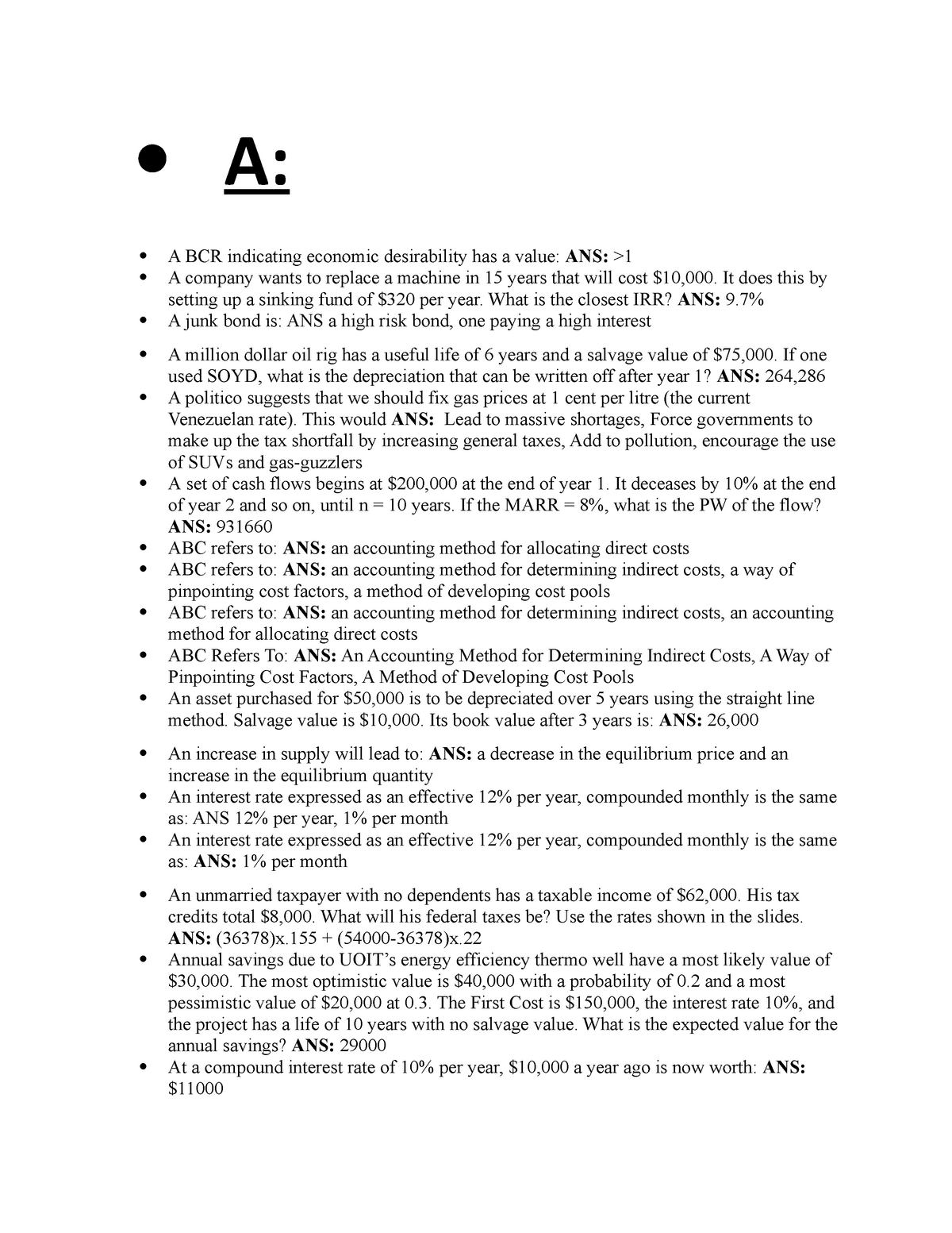 Sample/practice exam 2010, questions and answers ...