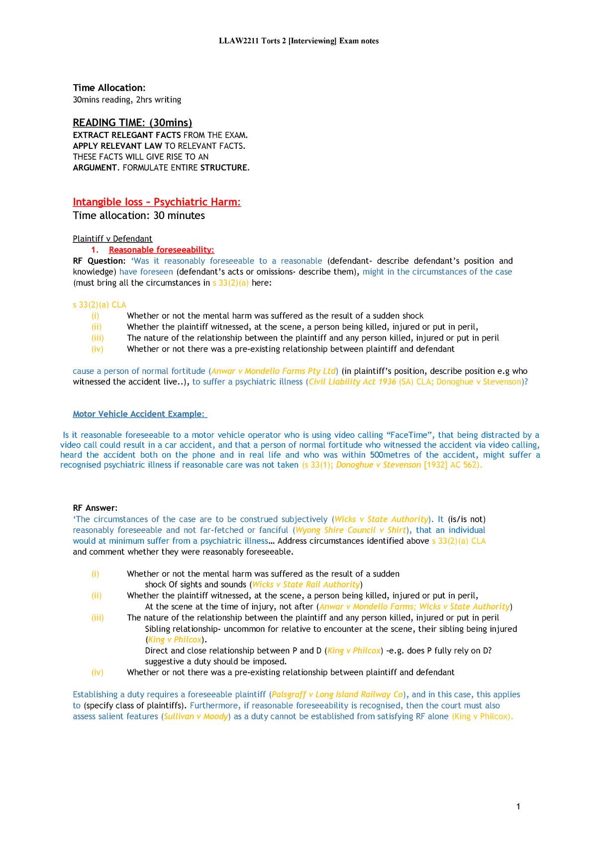 Torts 2 Exam Notes - LLAW2211 - StuDocu