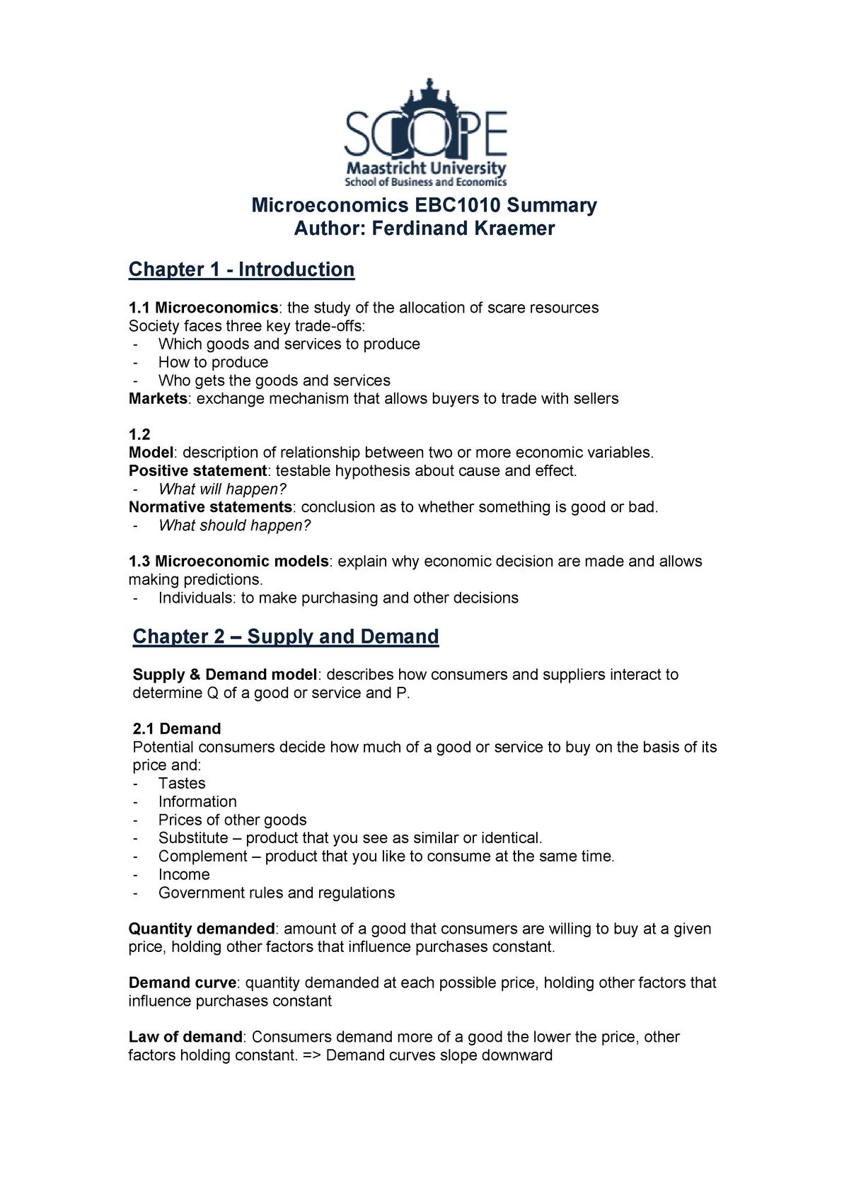 Summary Microeconomics, 1st year - EUS1008 - StuDocu