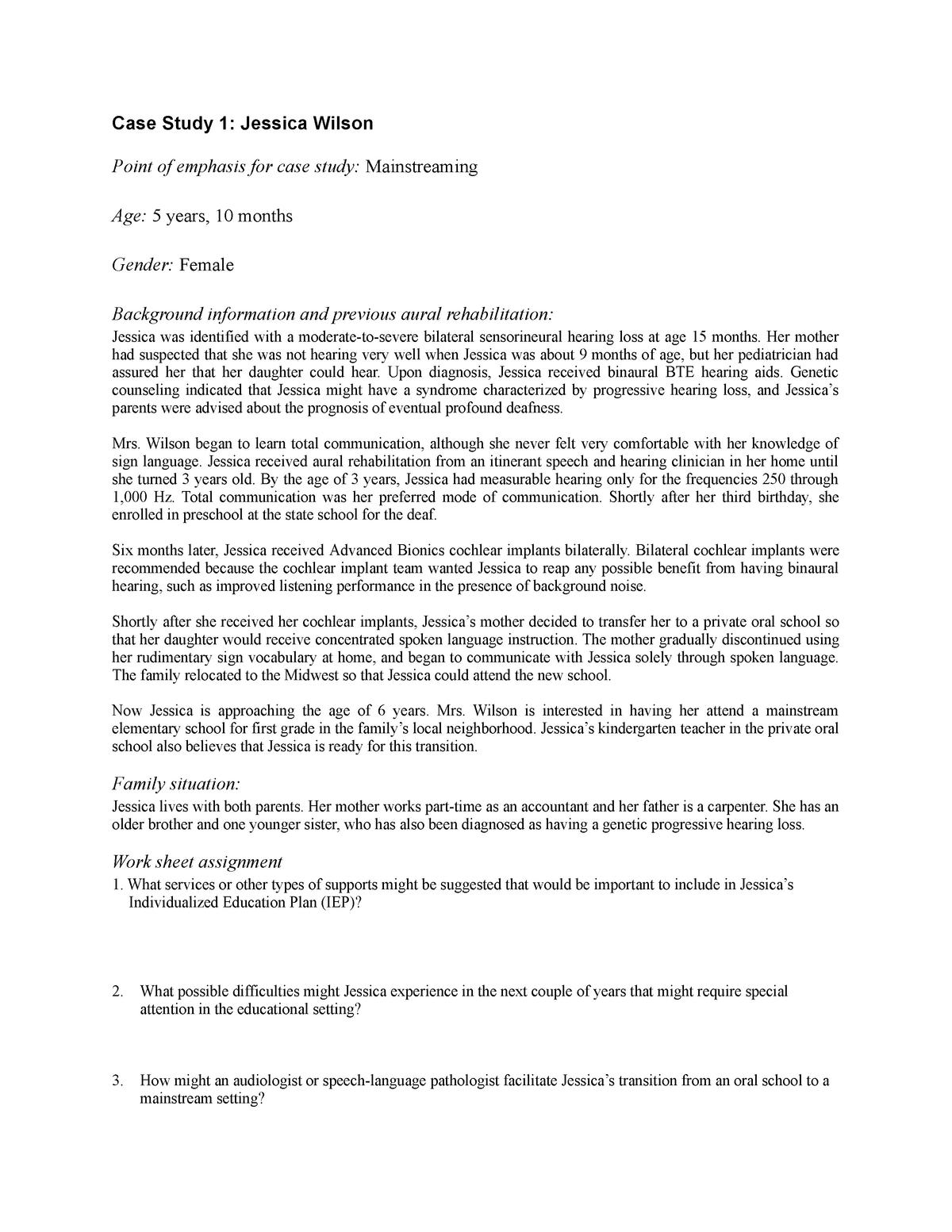 Case Study One for Student - child - SLP 404: Aural