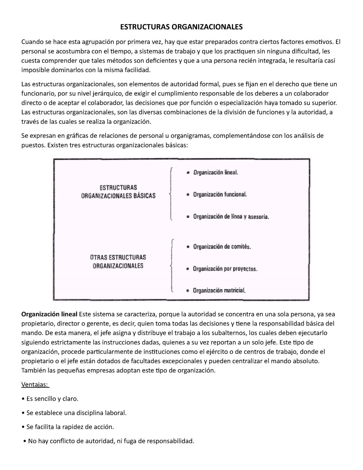 Estructuras Organizacionales Unidad 3 Ultima Parte 2 Studocu