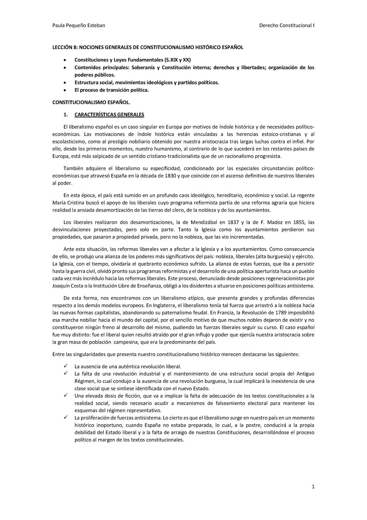 Lección 8 Tema 7 Derecho Constitucional Deusto Studocu