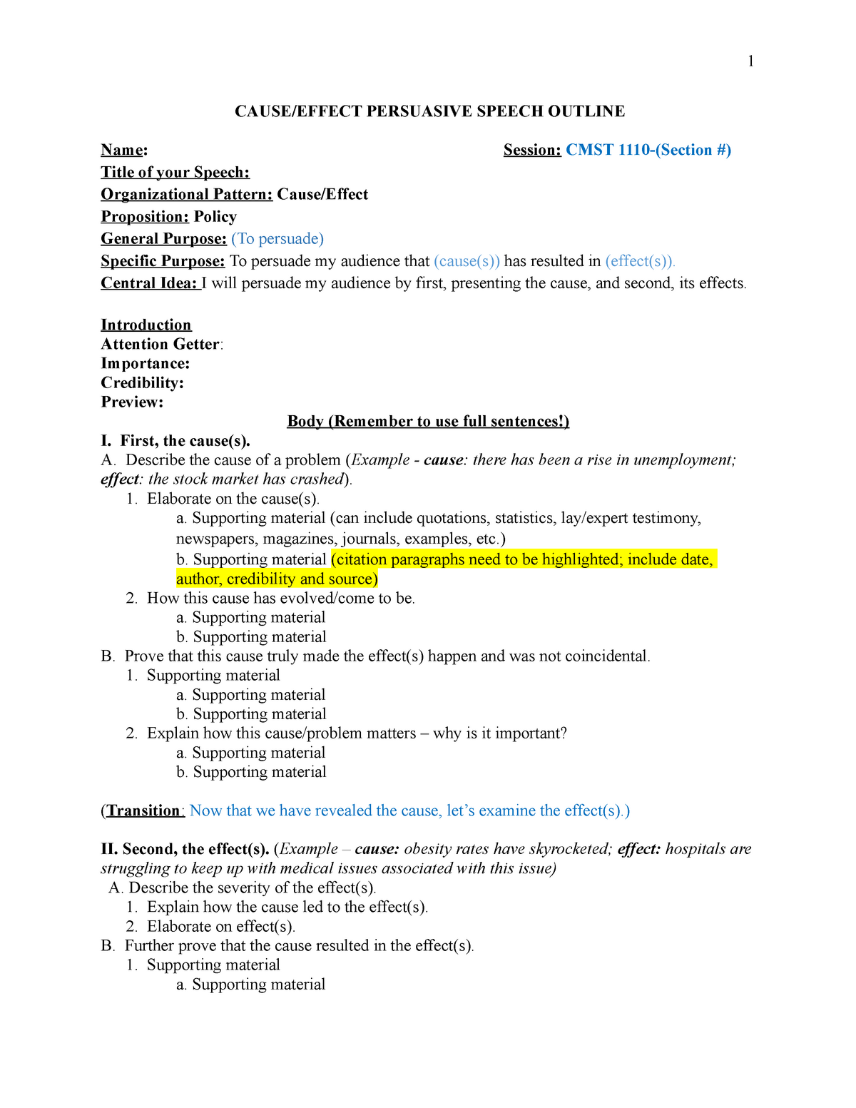 Outline persuasive example speech Examples on