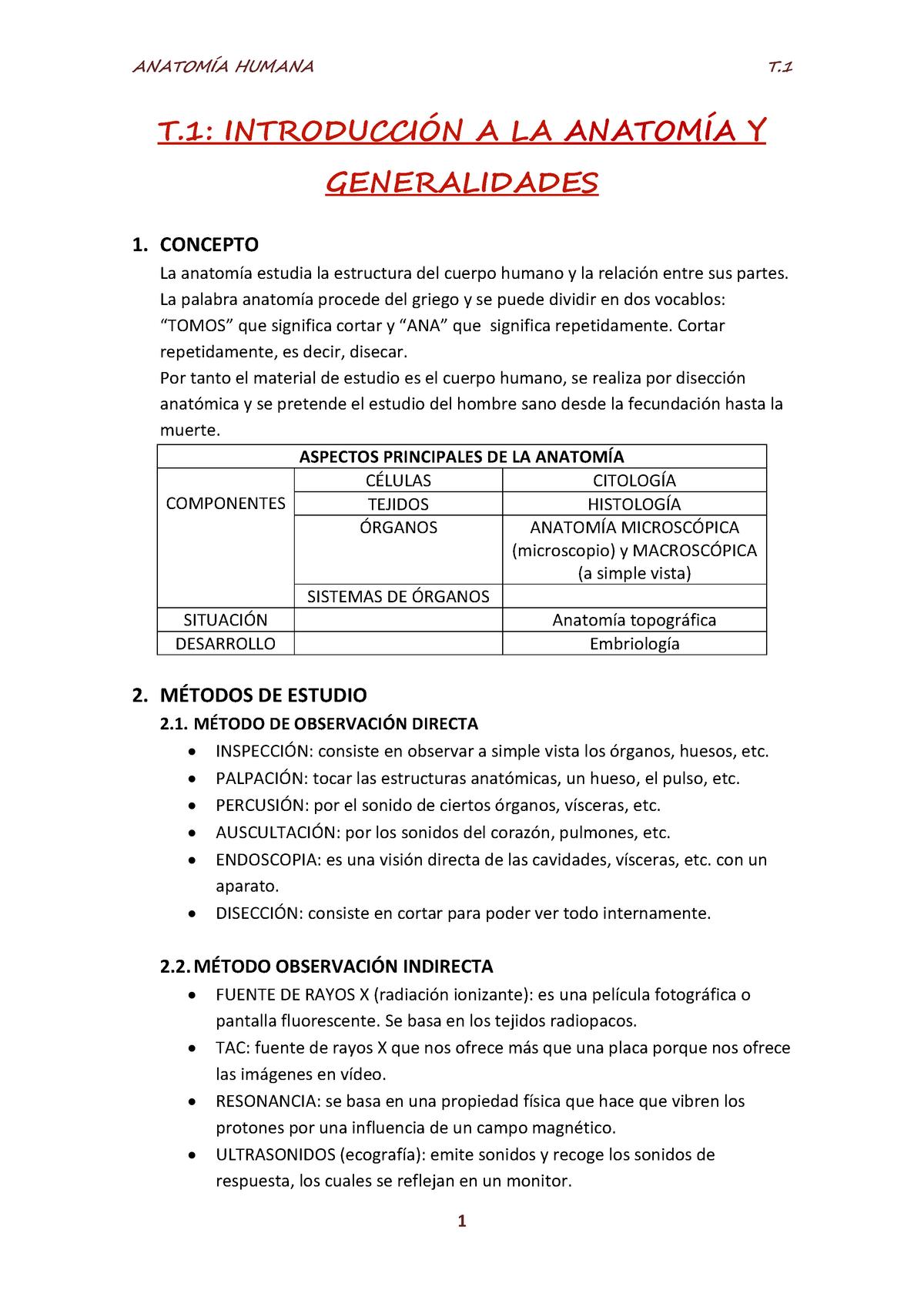 Resúmen completo Temas 1-14 pdf - Anatomía Humana G2031101