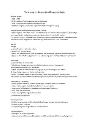Zusammenfassung Vorlesungen + Buch Biopsychologie - Bachelor Psychologie