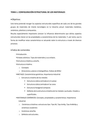 Guia Docente Tema 1 Apuntes 1 Ciencia De Los Materiales