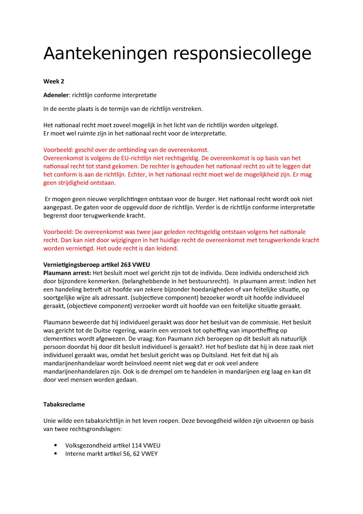 Aantekeningen Responsiecollege European Union Law W330