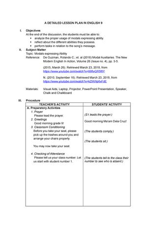 Modals - Lesson Plan for English 9 - EDUC - StuDocu