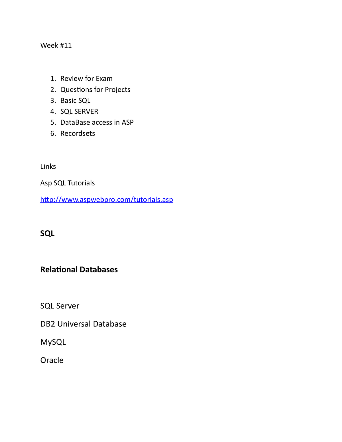 Week 11 - Lecture notes 11 - CIS 4160: Web Applications Development