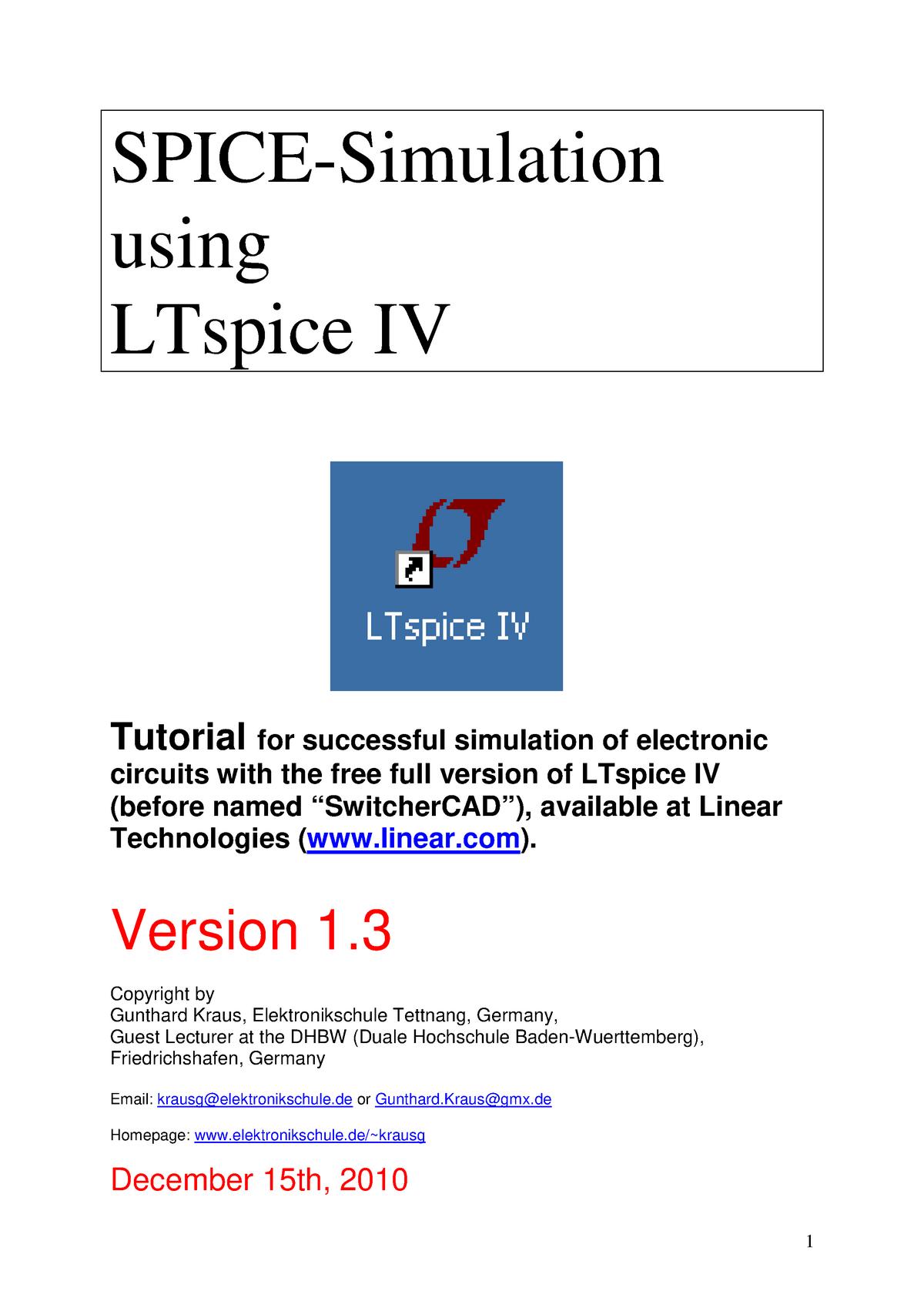 LTspice 4 e2 - 2211: Electrónica General - StuDocu