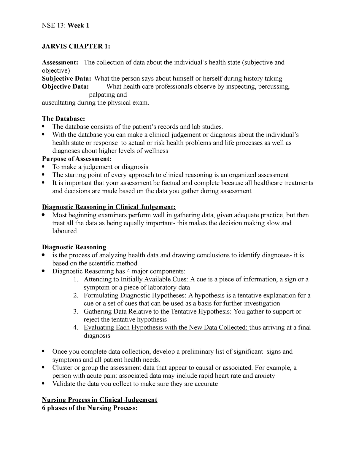 Nursing Assesment - Lecture notes - Chapter 1 - NSE 13